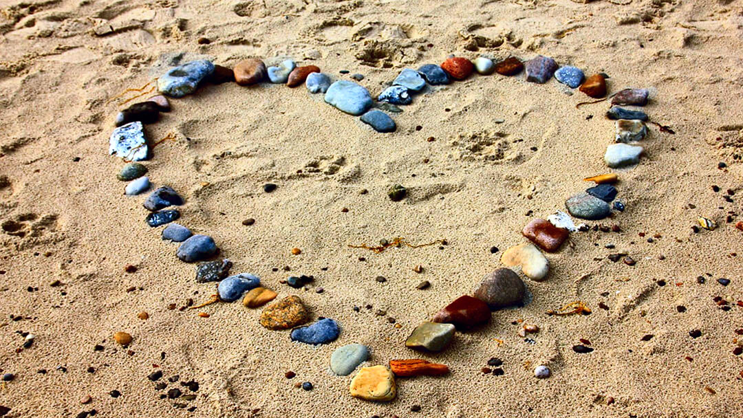 Love the Beach - Heart by Rocks
